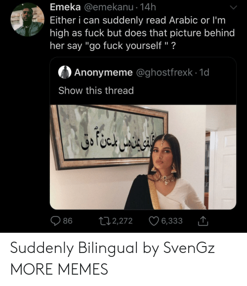 "Arabic: Emeka @emekanu 14h  Either i can suddenly read Arabic or I'm  high as fuck but does that picture behind  her say ""go fuck yourself"" ?  Anonymeme @ghostfrexk 1d  Show this thread  ال خا متن دق  L12,272  86  6,333 Suddenly Bilingual by SvenGz MORE MEMES"