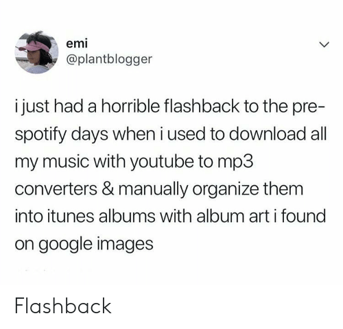 Google, Music, and youtube.com: emi  @plantblogger  i just had a horrible flashback to the pre-  spotify days when i used to download all  my music with youtube to mp3  converters & manually organize them  into itunes albums with album art i found  on google images Flashback