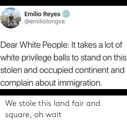White Privilege: Emilio Reyes  @emiliotongva  Dear White People: It takes a lot of  white privilege balls to stand on this  stolen and occupied continent and  complain about immigration. We stole this land fair and square, oh wait