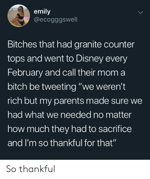 """Bitch, Disney, and Parents: emily  @ecogggswell  Bitches that had granite counter  tops and went to Disney every  February and call their mom a  bitch be tweeting """"we weren't  rich but my parents made sure we  had what we needed no matter  how much they had to sacrifice  and I'm so thankful for that"""" So thankful"""