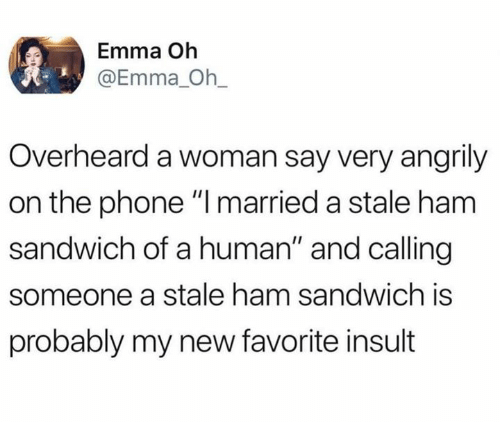"""Dank, Phone, and 🤖: Emma Oh  @Emma_ Oh_  Overheard a woman say very angrily  on the phone """" married a stale ham  sandwich of a human"""" and calling  someone a stale ham sandwich is  probably my new favorite insult"""