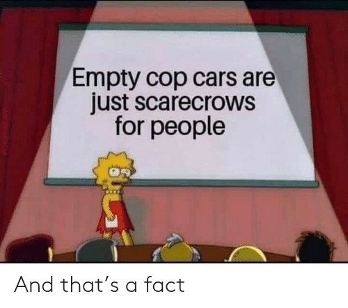 Cars, Cop, and For: Empty cop cars are  just scarecrows  for people And that's a fact