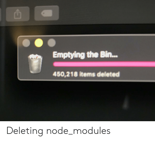 Items: Emptying the Bin...  450,218 items deleted Deleting node_modules