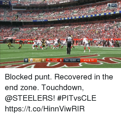 Fords: EN FORD 80  BILL WILLIS 60MARSON MOTLET 3  SHERWN-WILLIAMS  ni  30  CLE 0 1ST 12:51 404TH & 19 Blocked punt. Recovered in the end zone.  Touchdown, @STEELERS! #PITvsCLE https://t.co/HinnViwRIR