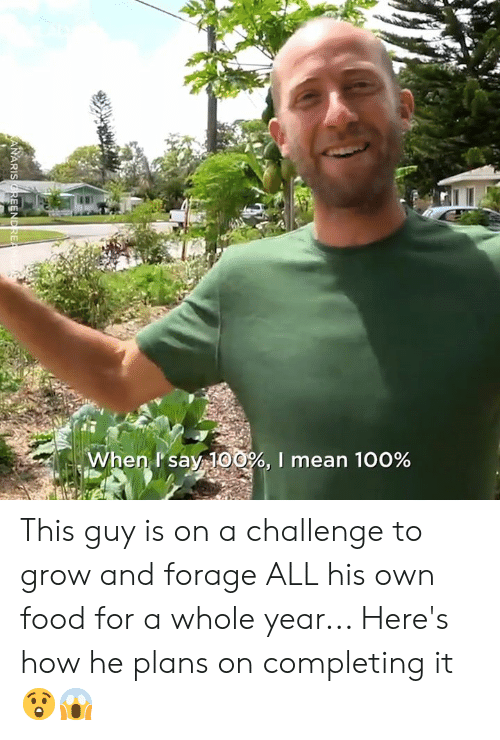 Dank, Food, and Mean: en Psay100%, I mean 100% This guy is on a challenge to grow and forage ALL his own food for a whole year... Here's how he plans on completing it 😲😱