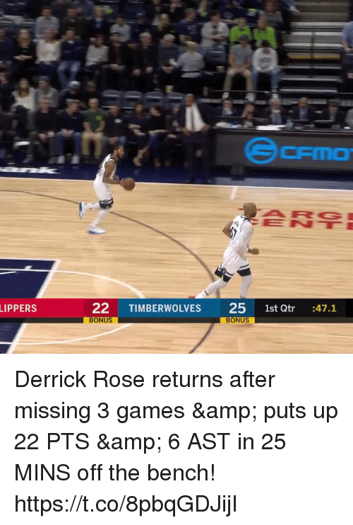 Derrick Rose: ENE  22 TIMBERWOLVES 25 1st Qtr 47.1  BONUS  LIPPERS  BONUS Derrick Rose returns after missing 3 games & puts up 22 PTS & 6 AST in 25 MINS off the bench!   https://t.co/8pbqGDJijI