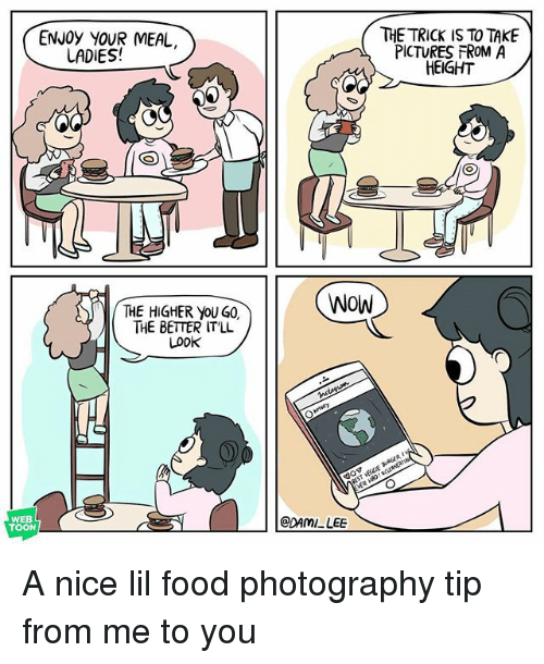 Food, Memes, and Wow: ENJOy YOUR MEAL  THE TRICK IS TO TAKE  PICTURES FROM A  HEIGHT  LADIES!  WOW  THE HIGHER yoU G0,  THE BETTER IT'LL  Look  BEST VECCE aAGER  WEB  TOON  @DAMI LEE A nice lil food photography tip from me to you