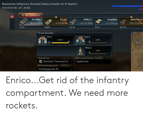 rockets: Enrico...Get rid of the infantry compartment. We need more rockets.
