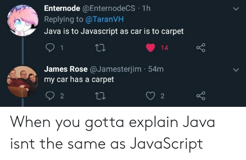 Java, Rose, and Javascript: Enternode @EnternodeCS 1h  Replying to @TaranVH  Java is to Javascript as car is to carpet  14  James Rose @Jamesterjim 54m  my car has a carpet  2  2 When you gotta explain Java isnt the same as JavaScript
