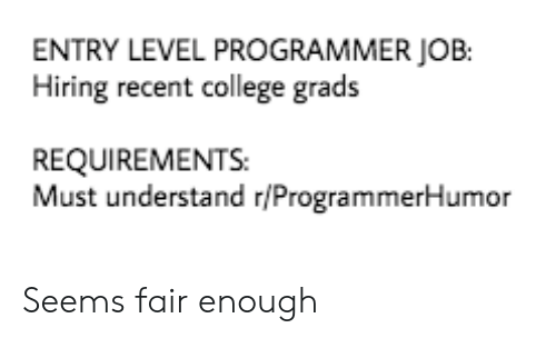 College, Job, and Fair: ENTRY LEVEL PROGRAMMER JOB:  Hiring recent college grads  REQUIREMENTS  Must understand r/ProgrammerHumor Seems fair enough