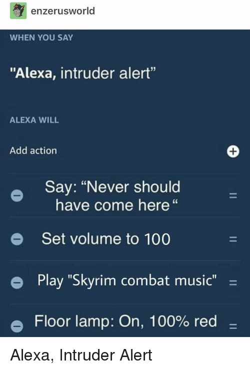 "Anaconda, Music, and Skyrim: enzerusworld  WHEN YOU SAY  ""Alexa, intruder alert""  ALEXA WILL  Add action  Say: ""Never should  have come here""  e Set volume to 100  e  Play ""Skyrim combat music -  Floor lamp: On, 100% red- Alexa, Intruder Alert"