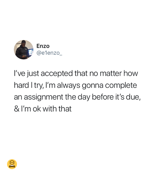 Im Ok: Enzo  @elenzo_  I've just accepted that no matter how  hard I try, l'm always gonna complete  an assignment the day before it's due,  & I'm ok with that 😩