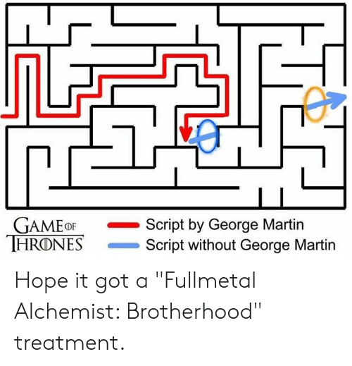 "Dank, Martin, and Fullmetal Alchemist: EOF Script by George Martin  HRONES  Script without George Martin Hope it got a ""Fullmetal Alchemist: Brotherhood"" treatment."