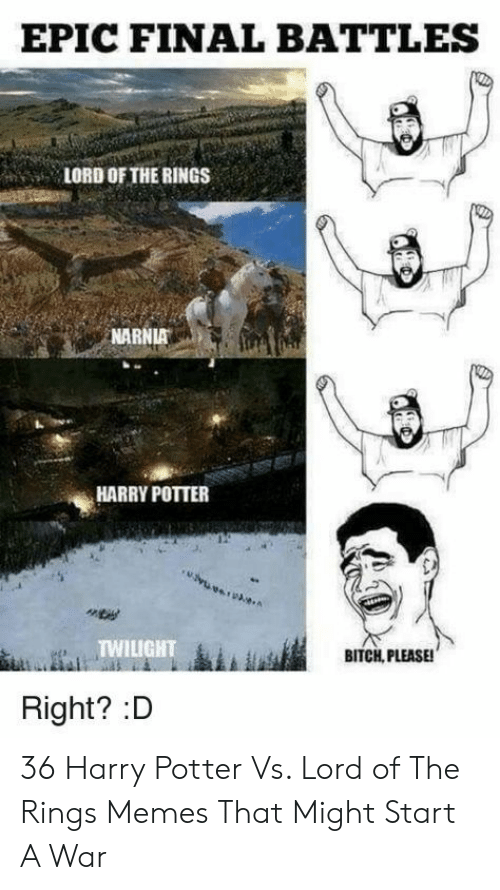Bitch, Harry Potter, and Memes: EPIC FINAL BATTLES  LORD OF THE RINGS  NARNIA  HARRY POTTER  TWILIGHT  BITCH, PLEASE!  Right? :D 36 Harry Potter Vs. Lord of The Rings Memes That Might Start A War