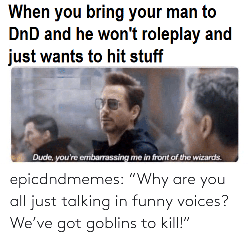 "got: epicdndmemes:  ""Why are you all just talking in funny voices? We've got goblins to kill!"""