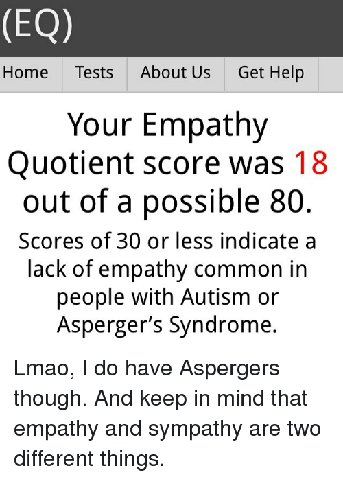 EQ Home Tests About Us Get Help Your Empathy Quotient Score Was 18