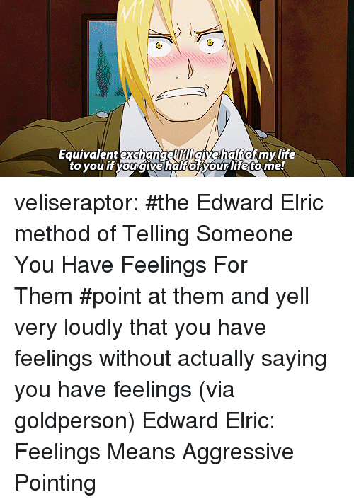 edward elric: Equivalent exchange HIgivehalfof my life  to you it you givehalforyour life tome veliseraptor:  #the Edward Elric method of Telling Someone You Have Feelings For Them#point at them and yell very loudly that you have feelings without actually saying you have feelings(via goldperson) Edward Elric: Feelings Means Aggressive Pointing