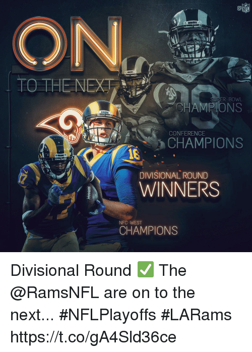 Memes, Bowl, and 🤖: ER BOWL  HAMPIONS  HDI  CONFERENCE  CHAMPIONS  DIVISIONAL ROUND  WINNERS  NFC WEST  CHAMPIONS Divisional Round ✅  The @RamsNFL are on to the next... #NFLPlayoffs #LARams https://t.co/gA4Sld36ce