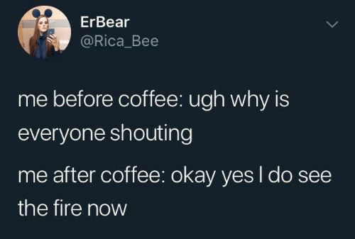 The Fire: ErBear  @Rica_Bee  me before coffee: ugh why is  everyone shouting  me after coffee: okay yes I do see  the fire now