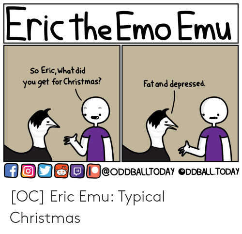 oddball: Eric the Emo Emu  So Eric,what did  you get for Christmas?  Fat and depressed.  OllolODDBAlUTODAY ODDBALL.TODAY [OC] Eric Emu: Typical Christmas