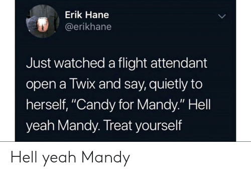 """Candy, Yeah, and Flight: Erik Hane  @erikhane  Just watched a flight attendant  open a Twix and say, quietly to  herself, """"Candy for Mandy."""" Hell  yeah Mandy. Treat yourself Hell yeah Mandy"""