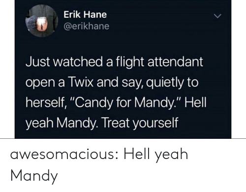 """Candy, Tumblr, and Yeah: Erik Hane  @erikhane  Just watched a flight attendant  open a Twix and say, quietly to  herself, """"Candy for Mandy."""" Hell  yeah Mandy. Treat yourself awesomacious:  Hell yeah Mandy"""