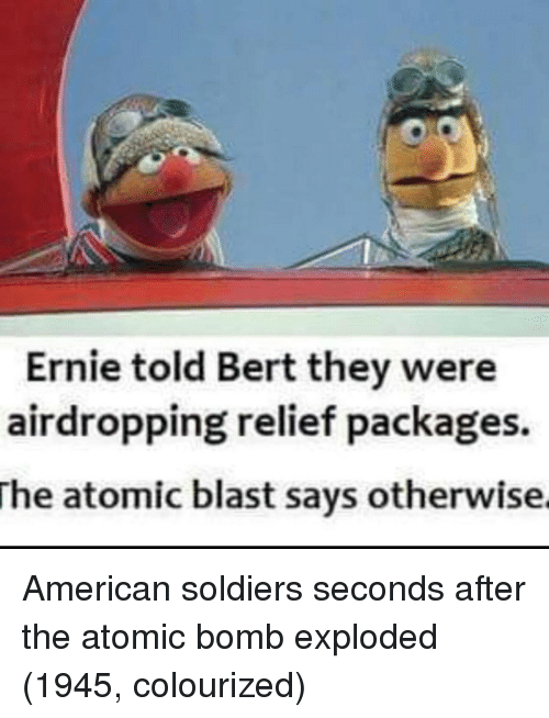 packages: Ernie told Bert they were  airdropping relief packages.  The  atomic blast says otherwise American soldiers seconds after the atomic bomb exploded (1945, colourized)