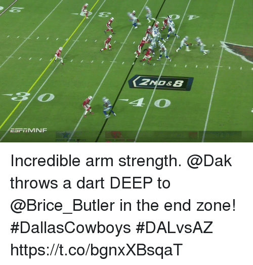 Memes, 🤖, and Deep: ESFTMNF Incredible arm strength.  @Dak throws a dart DEEP to @Brice_Butler in the end zone! #DallasCowboys #DALvsAZ https://t.co/bgnxXBsqaT