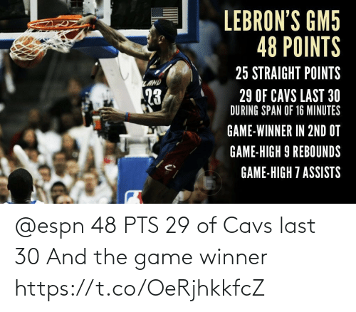 pts: @espn 48 PTS 29 of Cavs last 30 And the game winner https://t.co/OeRjhkkfcZ