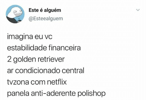 Netflix, Golden Retriever, and Pt-Br (Brazilian Portuguese): Este é alguém  @Esteealguem  imagina eu vc  estabilidade financeira  2 golden retriever  ar condicionado central  tvzona com netflix  panela anti-aderente polishop