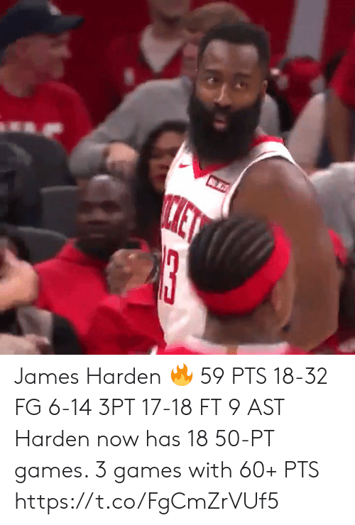 James Harden: ET  13 James Harden 🔥  59 PTS 18-32 FG 6-14 3PT 17-18 FT 9 AST  Harden now has 18 50-PT games.  3 games with 60+ PTS  https://t.co/FgCmZrVUf5