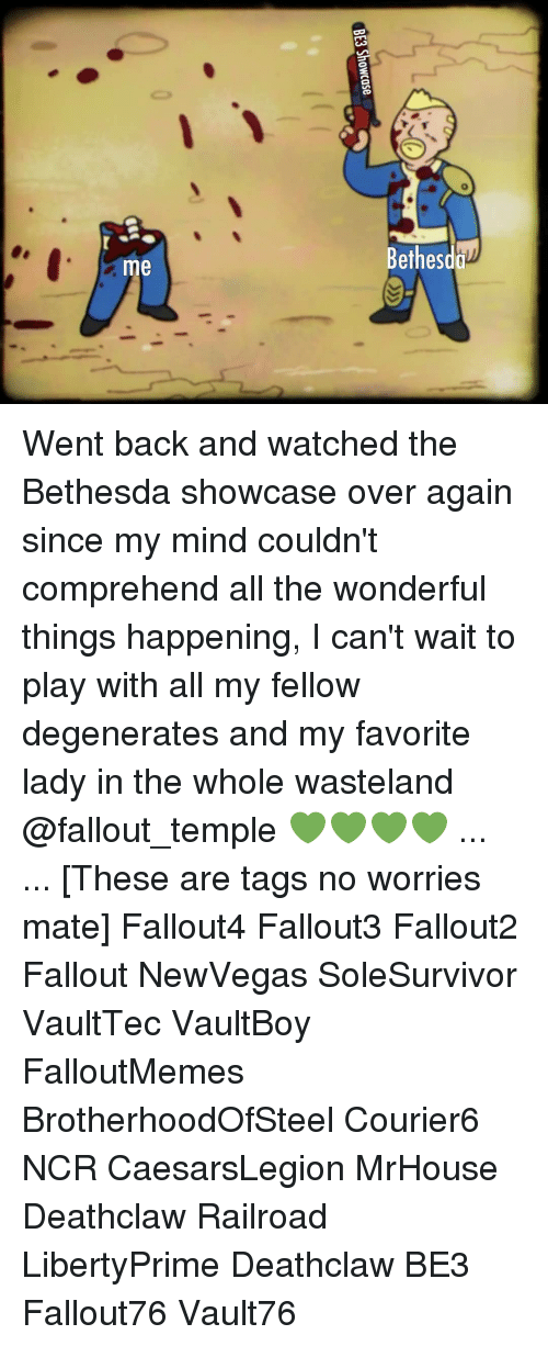 Memes, Fallout, and Mind: etheso  me Went back and watched the Bethesda showcase over again since my mind couldn't comprehend all the wonderful things happening, I can't wait to play with all my fellow degenerates and my favorite lady in the whole wasteland @fallout_temple 💚💚💚💚 ... ... [These are tags no worries mate] Fallout4 Fallout3 Fallout2 Fallout NewVegas SoleSurvivor VaultTec VaultBoy FalloutMemes BrotherhoodOfSteel Courier6 NCR CaesarsLegion MrHouse Deathclaw Railroad LibertyPrime Deathclaw BE3 Fallout76 Vault76