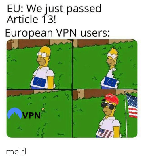 MeIRL, Vpn, and Article: EU: We just passed  Article 13!  European VPN users:  VPN meirl