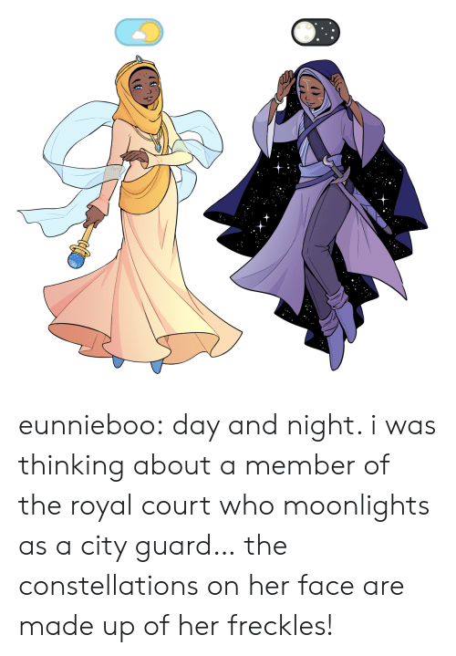 Target, Tumblr, and Blog: eunnieboo:  day and night. i was thinking about a member of the royal court who moonlights as a city guard… the constellations on her face are made up of her freckles!
