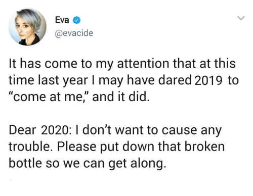 "I Dont Want: Eva  @evacide  It has come to my attention that at this  time last year I may have dared 2019 to  ""come at me,"" and it did.  Dear 2020:I don't want to cause any  trouble. Please put down that broken  bottle so we can get along."