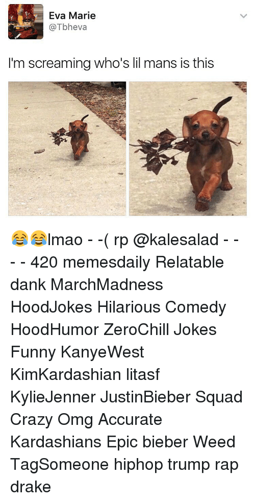 Relatables: Eva Marie  @Tbheva  I'm screaming who's lil mans is this 😂😂lmao - -( rp @kalesalad - - - - 420 memesdaily Relatable dank MarchMadness HoodJokes Hilarious Comedy HoodHumor ZeroChill Jokes Funny KanyeWest KimKardashian litasf KylieJenner JustinBieber Squad Crazy Omg Accurate Kardashians Epic bieber Weed TagSomeone hiphop trump rap drake