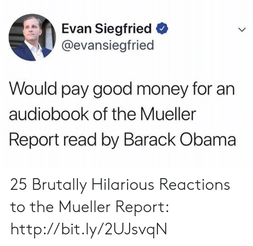 Memes, Money, and Obama: Evan Siegfried  @evansiegfried  Would pay good money for an  audiobook of the Mueller  Report read by Barack Obama 25 Brutally Hilarious Reactions to the Mueller Report: http://bit.ly/2UJsvqN