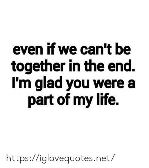 glad: even if we can't be  together in the end.  I'm glad you were a  part of my life. https://iglovequotes.net/