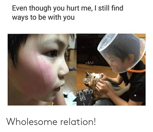 Wholesome, You, and Still: Even though you hurt me, I still find  ways to be with you  10 6 0  080 Wholesome relation!