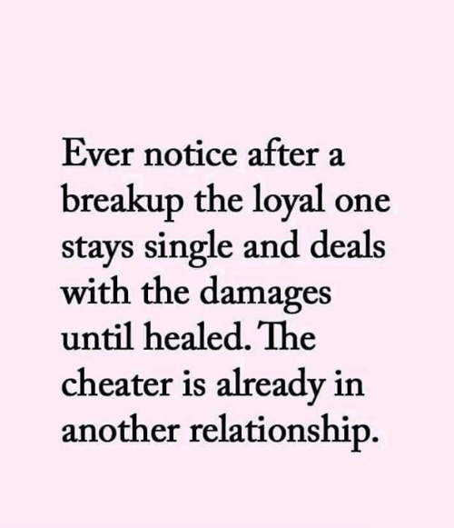 Memes, Single, and 🤖: Ever notice after a  breakup the loyal one  stays single and deals  with the damages  until healed. The  cheater is already in  another relationship