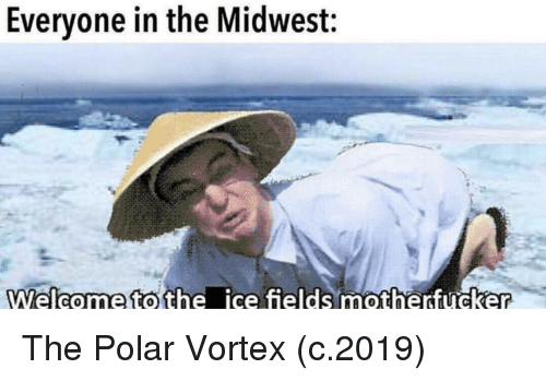 Ice, Vortex, and Polar Vortex: Evervone in the Midwest:  21  Welcome tothe ice fields motherfucker The Polar Vortex (c.2019)