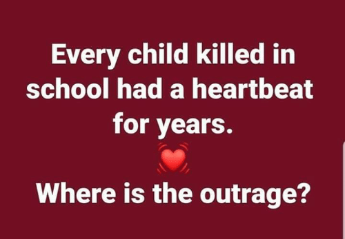 Outrage: Every child killed irn  school had a heartbeat  for years.  Where is the outrage?
