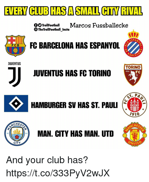 Club, Memes, and Juventus: EVERY CLUB HASASMALL CITY RIVAL  OOTrollFoot Marcos Fussballecke  TheTrollFootball_Insta  IIDD  ESPA  FCB  RCE  JUUENTUS  TORINO  6FC  JUVENTUS HAS FC TORINO  1906  HAMBURGER SV HAS ST. PAULI  1910  CHES  CHESTE  AN. CITY HAS MAN. UTD  18  94  UNITE  CITY And your club has? https://t.co/333PyV2wJX