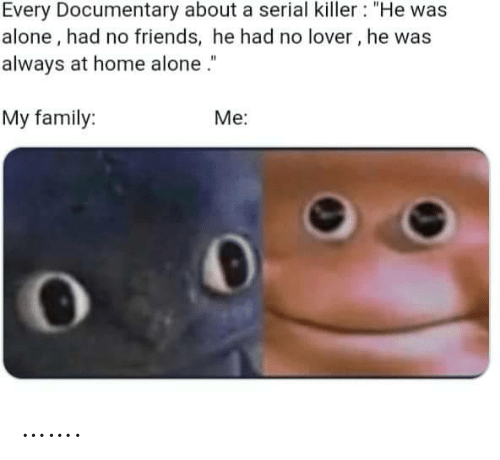 "Home Alone: Every Documentary about a serial killer : ""He was  alone, had no friends, he had no lover, he was  always at home alone .""  My family:  Me: ……."