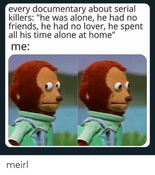 """serial killers: every documentary about serial  killers: """"he was alone, he had no  friends, he had no lover, he spent  all his time alone at home""""  me: meirl"""