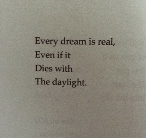 Dream, Daylight, and Real: Every dream is real  Even if it  Dies with  The daylight.