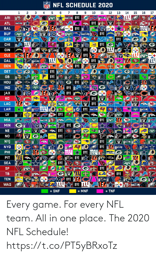 Schedule: Every game. For every NFL team. All in one place.  The 2020 NFL Schedule! https://t.co/PT5yBRxoTz