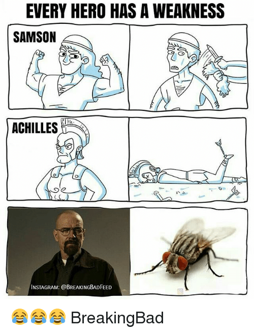 Instagram, Memes, and 🤖: EVERY HERO HAS A WEAKNESS  SAMSON  ACHILLES  Se  INSTAGRAM: @BREAKINGBADFEED 😂😂😂 BreakingBad