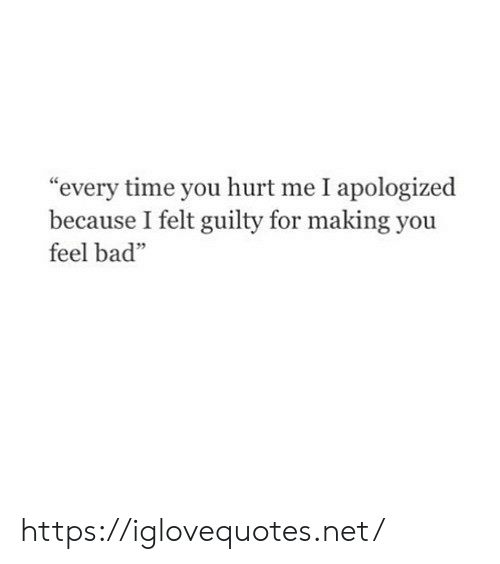 "Bad, Time, and Net: ""every time you hurt me I apologized  because I felt guilty for making you  feel bad""  64 https://iglovequotes.net/"