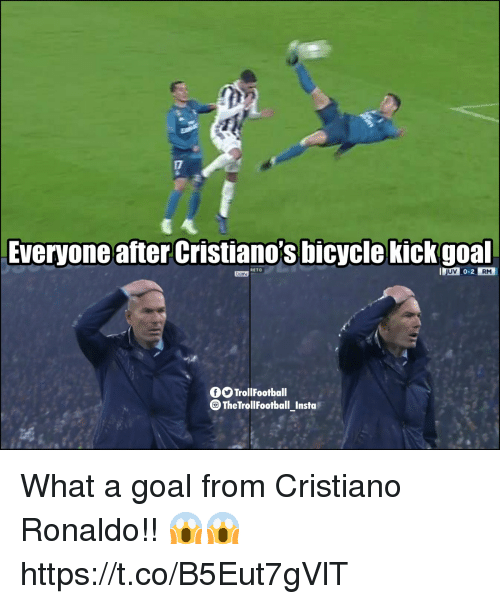 Cristiano Ronaldo, Memes, and Bicycle: Everyone after Cristiano's bicycle kickgoal  RM  RETO  OO TrollFootball  The TrollFootball Insta What a goal from Cristiano Ronaldo!! 😱😱 https://t.co/B5Eut7gVlT